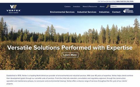 Screenshot of Home Page vertex.ca - Vertex | Environmental & Industrial Services - captured Nov. 6, 2017