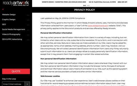 Privacy Policy | Ready ArtworkReady Artwork
