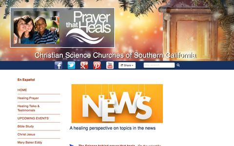 Screenshot of Press Page prayerthatheals.org - Christian Science Churches of Southern California : A Healing Perspective - captured Jan. 27, 2017