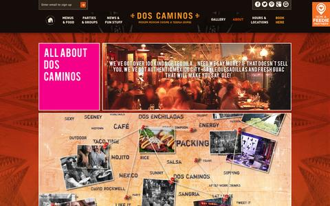 Screenshot of About Page doscaminos.com - Find out about Dos Caminos Mexican restaurant - who we are, what we stand for and why we love authentic Mexican cuisine. - captured Nov. 3, 2014