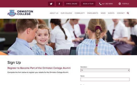 Screenshot of Signup Page ormistoncollege.com.au - Ormiston College - Sign Up - captured Jan. 10, 2017