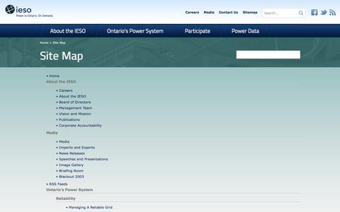 Screenshot of Site Map Page ieso.ca - IESO                                       Site Map - captured Oct. 6, 2014