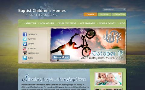Screenshot of Home Page bchfamily.org - Baptist Children's Homes of NC - captured Oct. 10, 2015