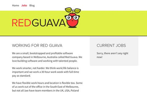 Screenshot of Jobs Page redguava.com.au - Jobs | Red Guava - captured Oct. 7, 2014