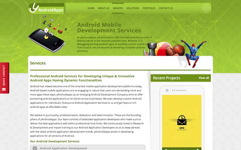 Screenshot of Services Page yandroidapps.com - Android Application Services | Android Mobile Apps Development Services - captured Sept. 19, 2014