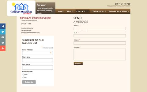 Screenshot of Privacy Page Contact Page goodwinmillworks.com - Contact Us - captured Oct. 22, 2014