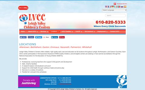 Screenshot of Locations Page lvcconline.org - Locations - Lehigh Valley Children's Centers - captured Nov. 10, 2018