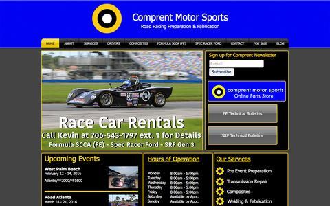 Screenshot of Home Page comprent.net - Comprent Motor Sports | Road Racing | Athens, Georgia - captured Jan. 30, 2016