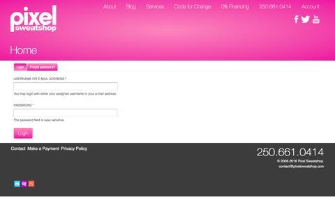 Screenshot of Login Page pixelsweatshop.com - Home | Pixel Sweatshop - captured Dec. 9, 2015