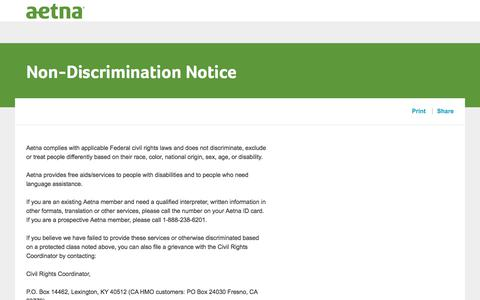 Non-discrimination Notice|Aetna