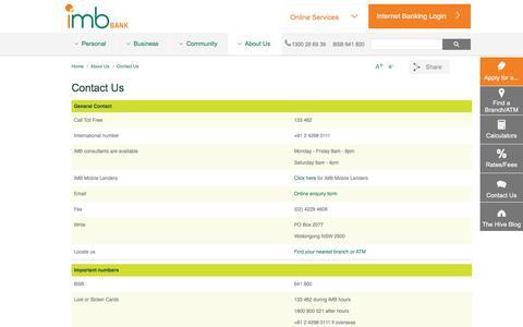 Screenshot of Contact Page imb.com.au - Contact Us - IMB | Better Value Banking - captured Nov. 18, 2016