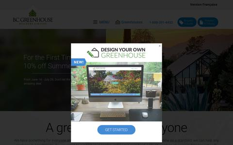 Screenshot of Home Page bcgreenhouses.com - BC Greenhouse Builders, Hobby Greenhouses: Best selection in the United States and Canada - captured July 10, 2019