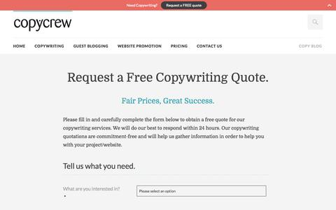 Screenshot of Pricing Page copycrew.com - Request a Copywriting Quotation - CopyCrew Copywriting Services - captured Sept. 30, 2014