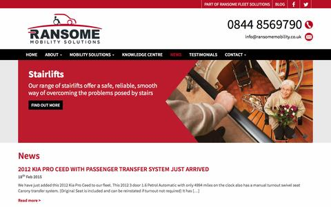Screenshot of Press Page ransomemobility.co.uk - News   Ransome Mobility Solutions - captured Jan. 13, 2016