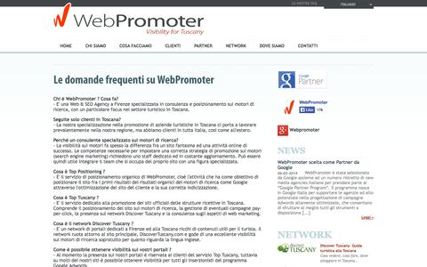 Screenshot of FAQ Page webpromoter.com - Le Domande Frequenti su Webpromoter: Faq –  WebPromoter - captured Oct. 1, 2014