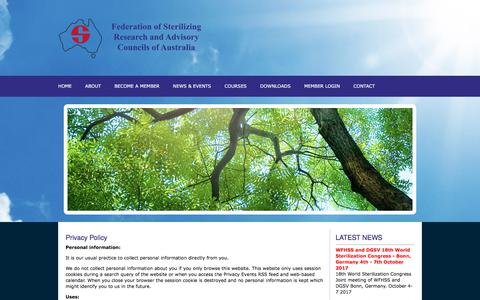 Screenshot of Privacy Page fsraca.org.au - FSRACA - Federal Sterilizing Research Advisory Councils of Australia :: Privacy - captured Jan. 20, 2018