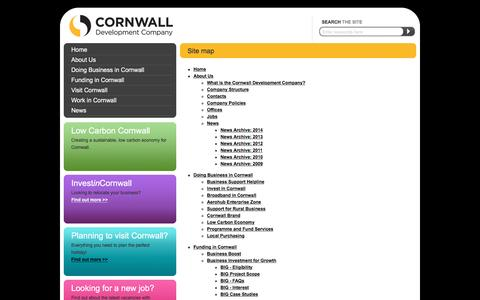 Screenshot of Site Map Page cornwalldevelopmentcompany.co.uk - Site map - Cornwall Development Company - achieving prosperity in Cornwall - captured Dec. 12, 2015