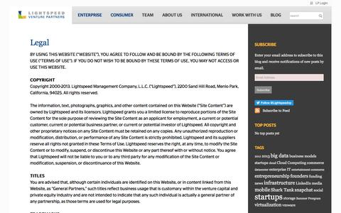 Screenshot of Terms Page lsvp.com - Lightspeed Venture PartnersLegal - Lightspeed Venture Partners - captured May 21, 2017