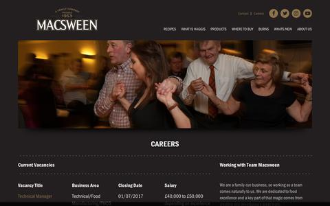 Screenshot of Jobs Page macsween.co.uk - Macsween | Careers - captured Oct. 2, 2018