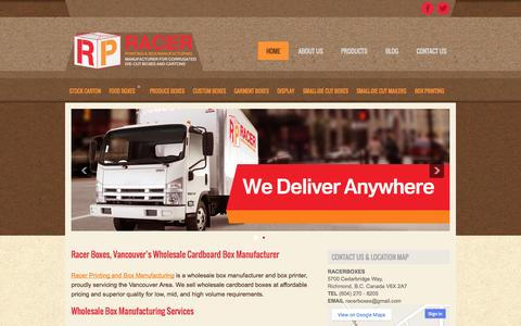 Screenshot of Home Page racerboxes.com - Wholesale Cardboard Boxes Vancouver | Racer Boxes - Box Manufacturing and Printing - captured Sept. 30, 2014