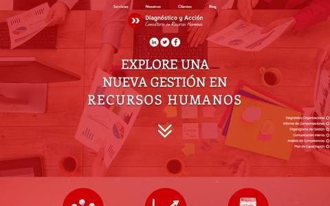 Screenshot of Home Page diagnosticoyaccion.com - Diagnóstico y Acción - Consultora de Recursos Humanos - captured Sept. 13, 2016