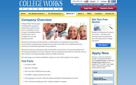 Screenshot of About Page collegeworks.com - About College Works Painting Internship   CollegeWorks.com - captured Oct. 3, 2014