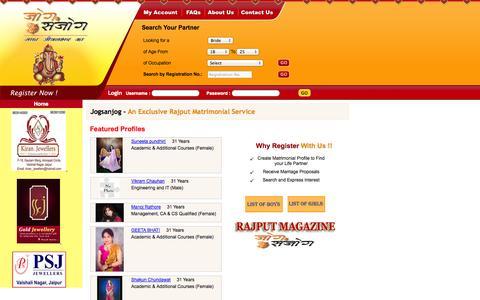 Screenshot of Home Page jogsanjog.com - Jogsanjog - An Exclusive Rajput Matrimonial Service - captured Sept. 30, 2014
