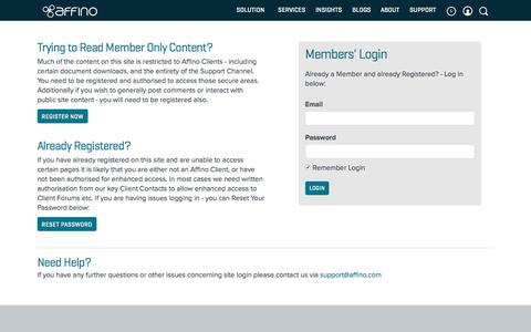 Screenshot of Support Page affino.com - Login - captured June 22, 2017