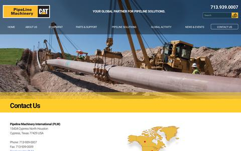 Screenshot of Contact Page plmcat.com - Contact the pipeline construction equipment experts - captured Oct. 24, 2017