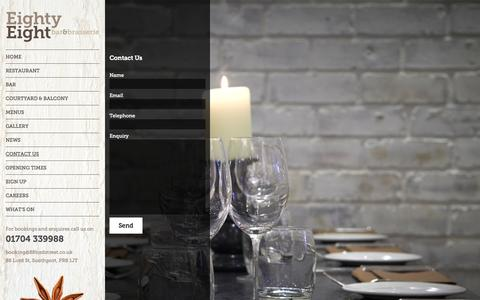Screenshot of Contact Page 88lordstreet.co.uk - Contact - Eighty Eight Bar & Brasserie - captured Oct. 3, 2014