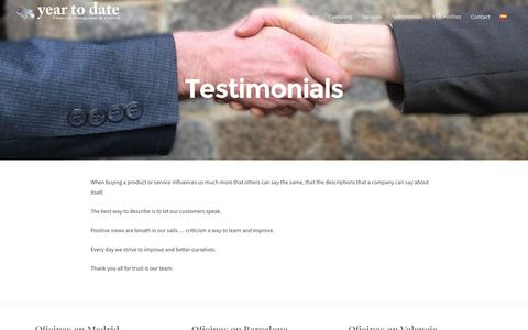 Screenshot of Testimonials Page ytdate.com - Testimonials – Year To Date - captured Nov. 19, 2016