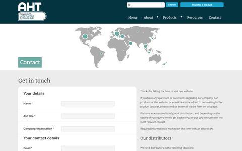 Screenshot of Contact Page babypod.com - Contact : AHT – The Baby Pod range - captured Oct. 4, 2014