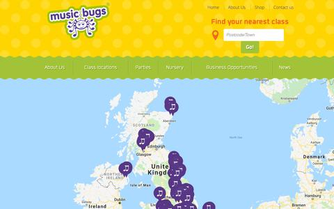 Screenshot of Locations Page musicbugs.co.uk - Class locations - Music Bugs activity classes for toddlers and preschoolers - captured Oct. 20, 2018