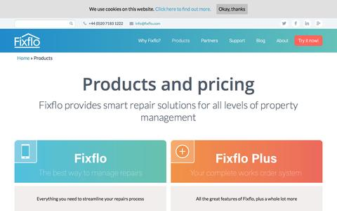 Screenshot of Products Page Pricing Page fixflo.com - Products and Pricing | Fixflo - captured Aug. 4, 2016
