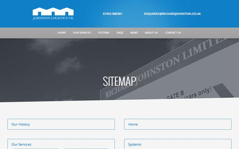 Screenshot of Site Map Page johnstonlogistics.co.uk - Johnston Logistics|Sitemap - Johnston Logistics - captured Nov. 6, 2014