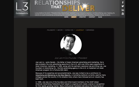 Screenshot of Team Page l3advertising.com - LEADERSHIP | L3 Advertising - captured Oct. 1, 2014