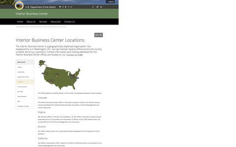 Screenshot of Locations Page doi.gov - Interior Business Center Locations | U.S. Department of the Interior - captured June 13, 2016