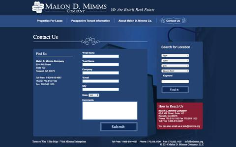 Screenshot of Contact Page mimms.org - Malon D. Mimms - captured Oct. 4, 2014