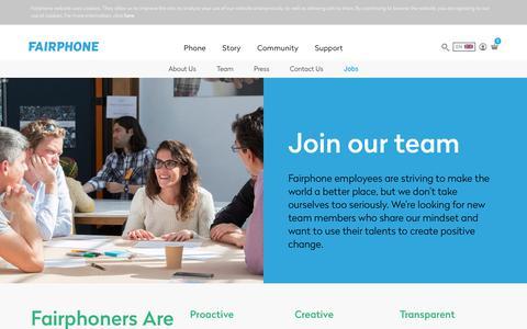 Screenshot of Jobs Page fairphone.com - Jobs - Fairphone - captured Nov. 28, 2017