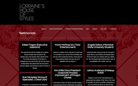 Screenshot of Testimonials Page lorraineshouseofstyles.com - Lorraine's House of Styles |   Testimonials - captured Sept. 30, 2014