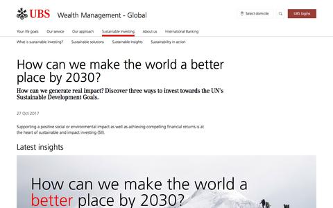 Screenshot of Pricing Page ubs.com - How can we make the world a better place by 2030? | UBS Global topics - captured Nov. 14, 2019
