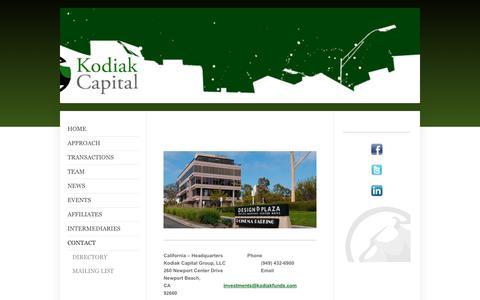 Screenshot of Contact Page kodiak-capital.us - Kodiak Capital Group,  LLC - Contact - captured Oct. 17, 2017