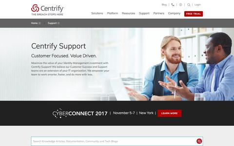 Screenshot of Support Page centrify.com - Support - captured July 31, 2017