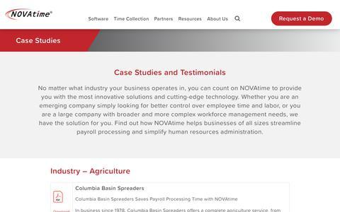 Screenshot of Case Studies Page novatime.com - Case Studies and Customer Testimonials   NOVAtime - captured Jan. 15, 2020
