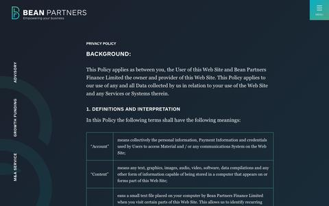 Screenshot of Privacy Page beanpartners.com - Privacy Policy - Bean Partners - captured Aug. 1, 2018