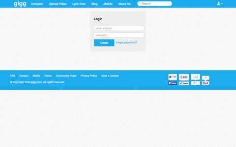 Screenshot of Login Page gigg.com - Gigg - captured Oct. 27, 2014