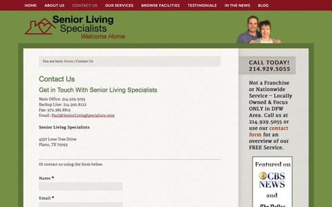 Screenshot of Contact Page seniorlivingspecialists.com - Contact Senior Living Specialists in Dallas, Ft Worth for Assisted Living Referrals - captured Oct. 9, 2014