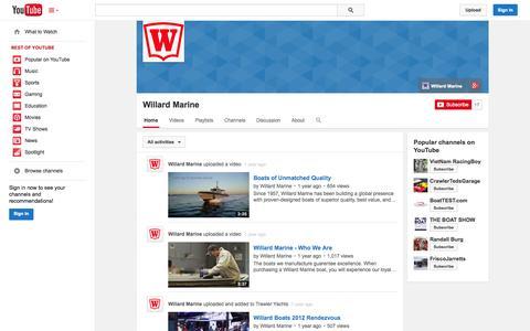 Screenshot of YouTube Page youtube.com - Willard Marine  - YouTube - captured Nov. 5, 2014