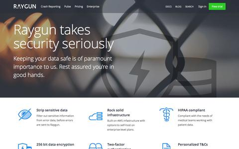 Screenshot of raygun.io - Raygun Security | Raygun - captured March 20, 2016
