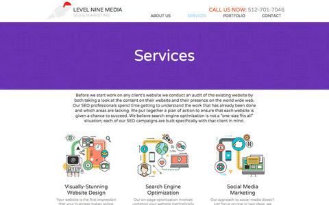 Screenshot of Services Page levelninemedia.com - Services | Web Design and SEO for Small Business - captured Dec. 6, 2019